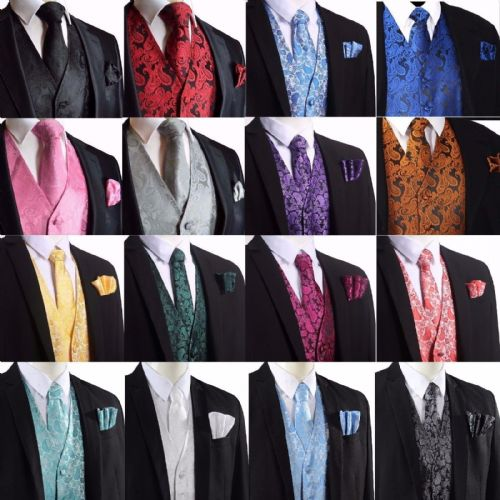 Men's Paisley Design Waistcoat Vest and Neck Tie Handkerchief Set For Suit UK